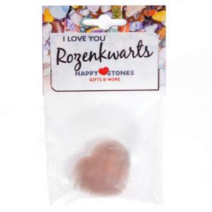 Happy Stones - knuffel edelsteen- I Love You hartje Rozenkwarts(uitverkocht)