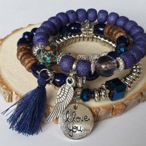 Mooie Armbanden Set met veertje - blauw