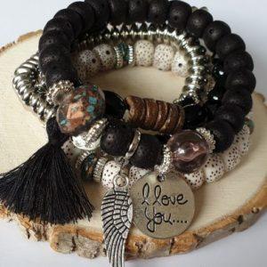 Mooie Armbanden Set met veertje - zwart