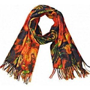 Grote sjaal 180 x 70 - warme tinten melange & okergeel